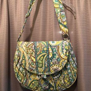 Vera Bradley Lemon Parfait Saddle Bag